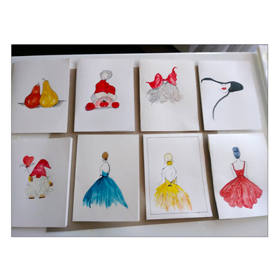 Hand painted greeting cards; water colour