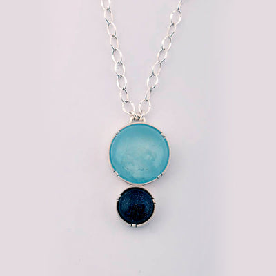 Aquamarine and Blue Sandstone Orbit Drop Pendant