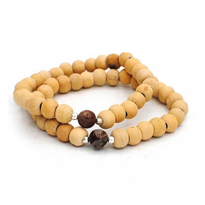 Sandalwood + Petrified Wood | Stretchy Beaded Bracelets