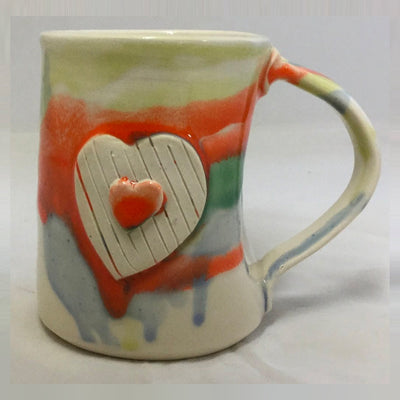 Large Heart Pottery Mug
