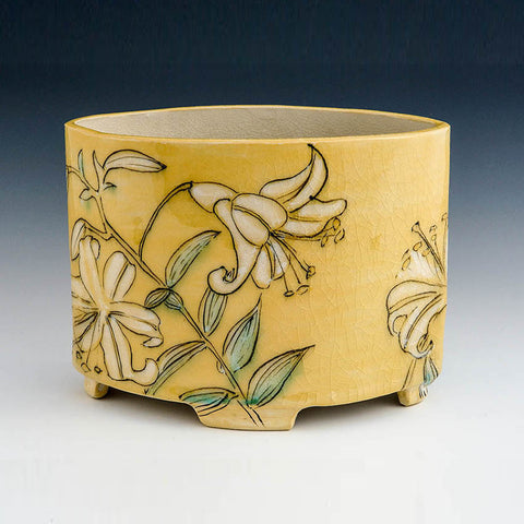 Wide Oval Handbuilt Vase - Yellow with Lilies