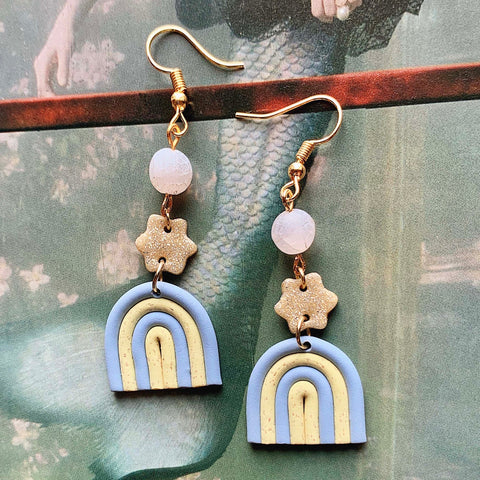 Gold plated polymer clay earrings