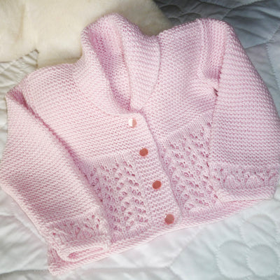 Hand Knit Baby Girl Lace Cardigan