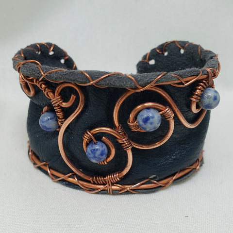 Reclaimed leather and copper cuff bracelet sodalite