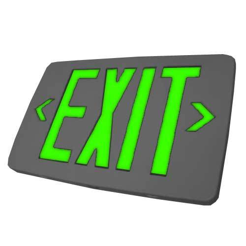 EZTXTEU - Ultra Thin plastic Exit, Single or Double face, Red or Green letters, White or Black housing, Emergency Backup or AC only