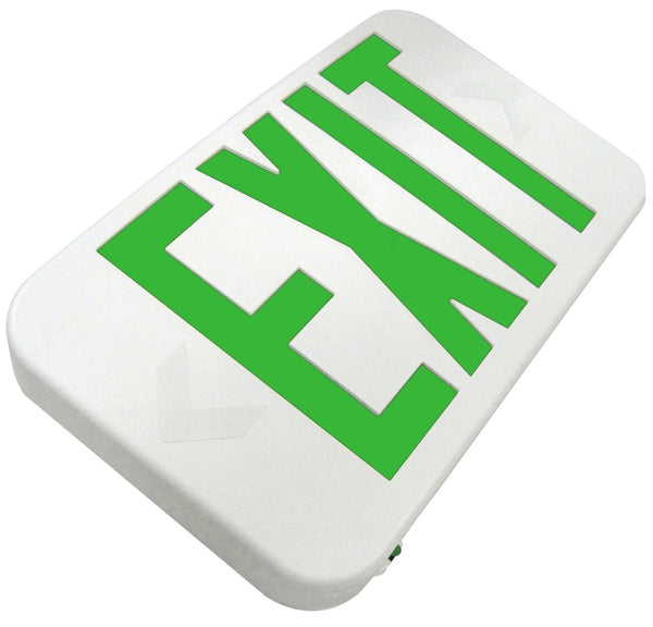 EZRXTEU Compact LED Exit Sign, Universal Face, Red letters, White or Black housing, AC Only or Emergency Backup Option