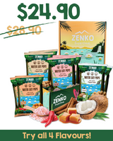 ZENKO Superfoods Super Starter Pack Water Lily Pops Makhana 4 Four Flavours - Comes with 2 Packs of Himalayan Pink Salt, Coconut, Cinnamon Caramel, Peri-Peri, Peri Indian Snack Vegan-Friendly Guilt-Free Snack