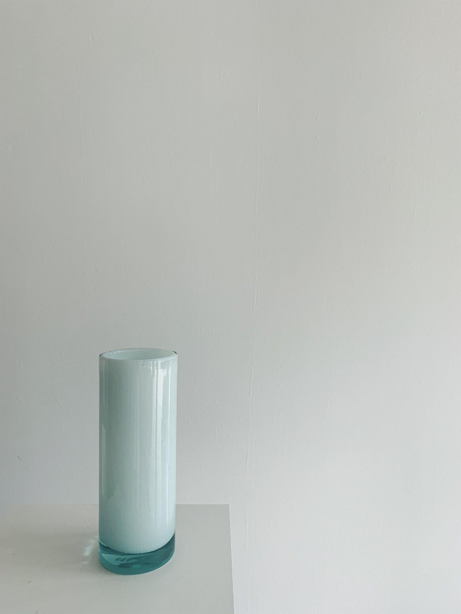 Belgian House Glass Vase - White Blue Cylinder