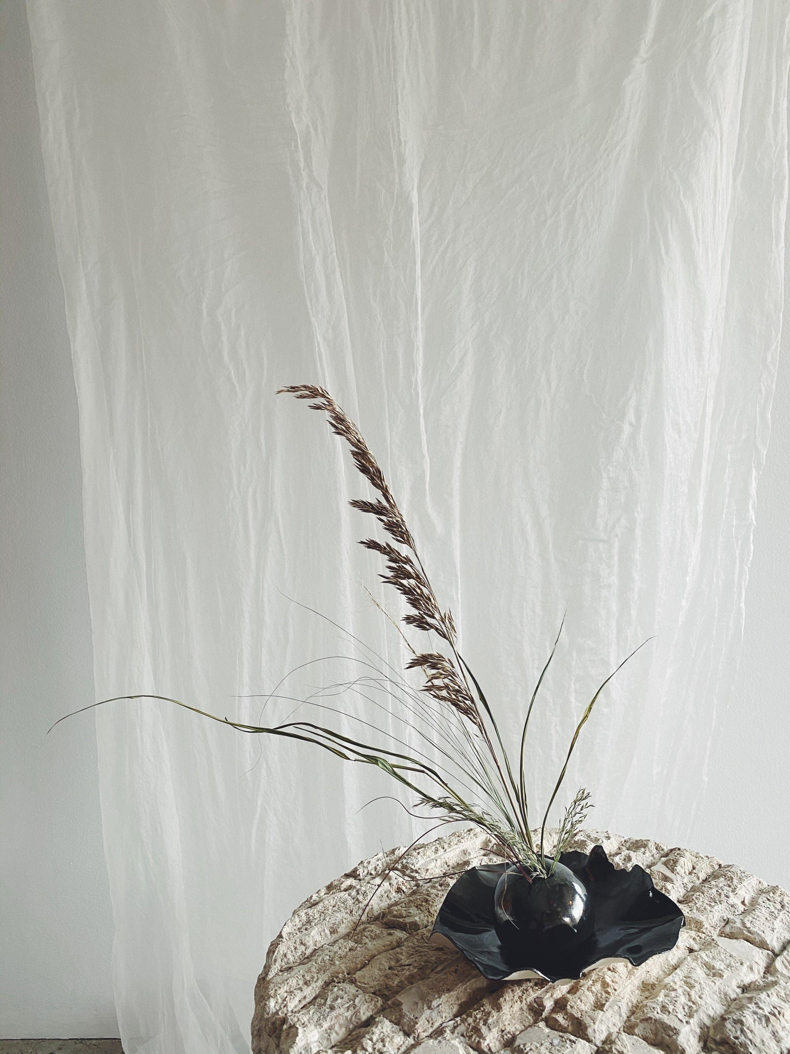 Vases - Nathalee Paolinelli Ikebana Orb with Grasses -  Small Metallic Tray - Nathalee Paolinelli - The Wild Bunch Florist - Vancouver Flower Shop Delivery