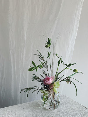 Goodbeast Crushed Glass Vase with Flowers