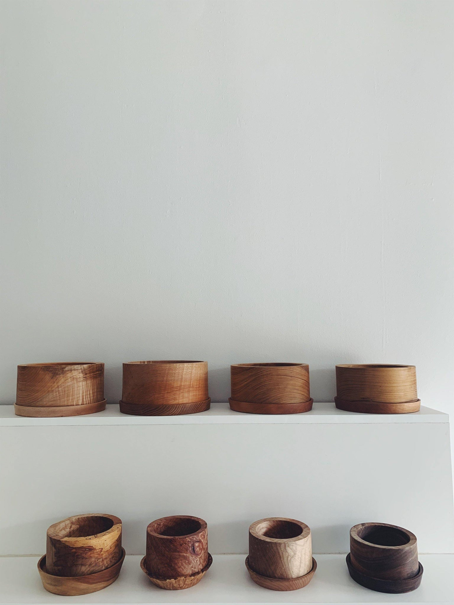 Elise McLauchlin Wood Pots with Tray