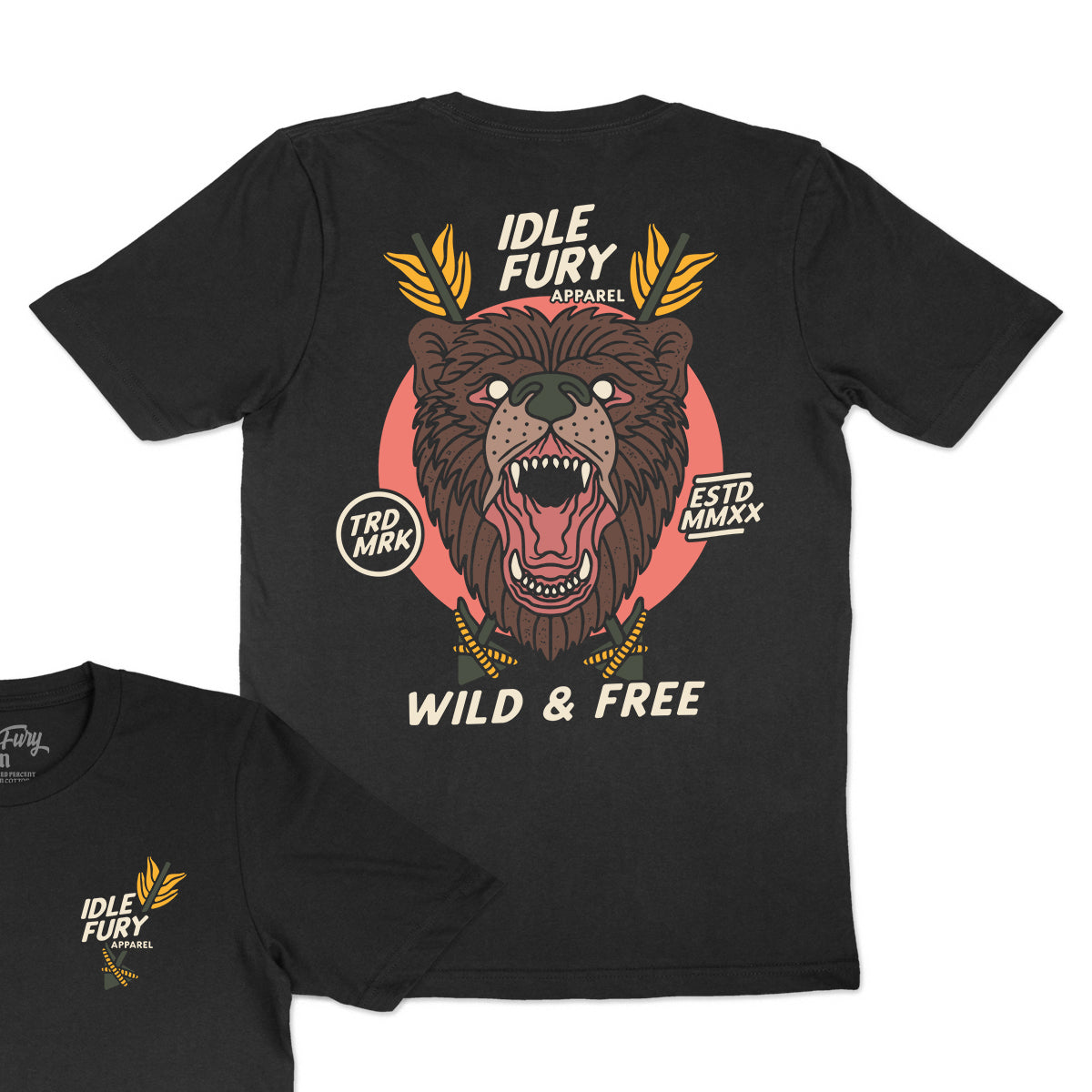 Wild & Free - Black T-Shirt - Front & Back Print