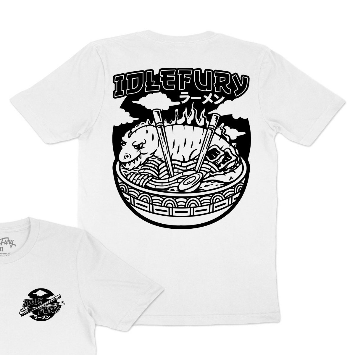 Kaiju Ramen Black - White T-Shirt - Front & Back Print