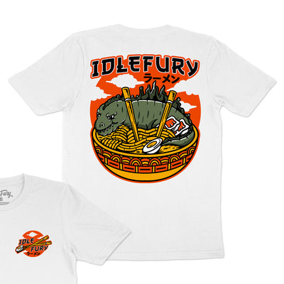 Kaiju Ramen Colour - White T-Shirt - Front & Back Print
