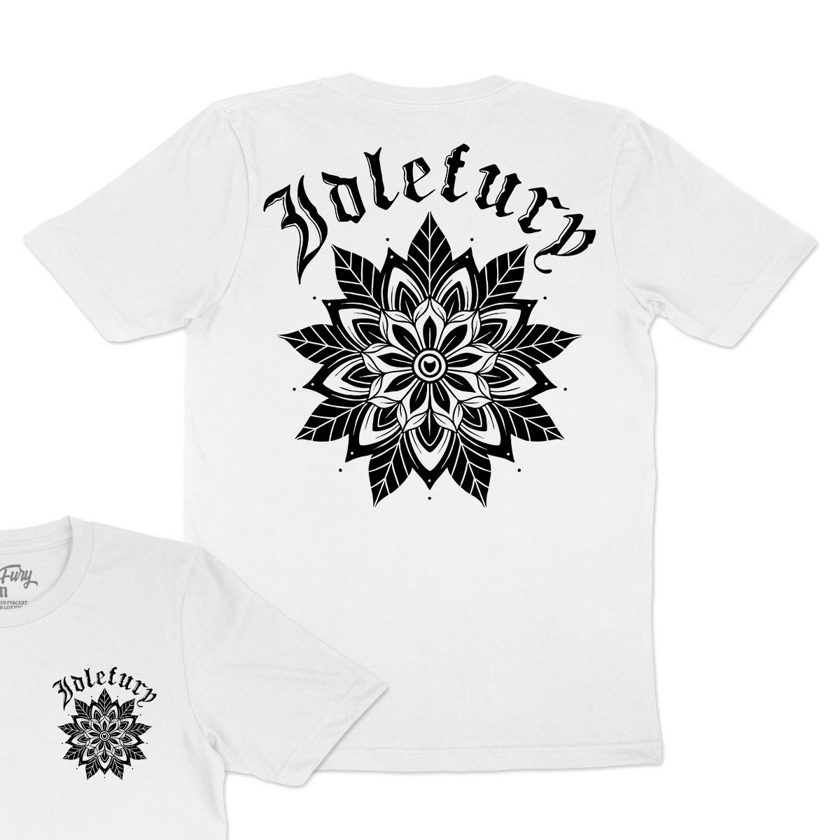 Black Mandala - White T-Shirt - Front & Back Print