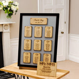 Personalised table plan with names engraved
