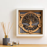 Family Tree with names engraved on hearts - wooden tree design
