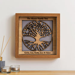Family Tree with names engraved on outer edge - wooden tree design