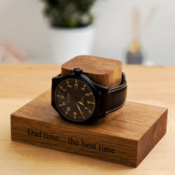 Personalised block oak watch stand