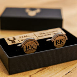Whisky wood, walnut or leather cufflinks