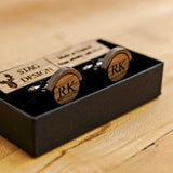 Whisky wood, wine barrel, walnut or leather cufflinks