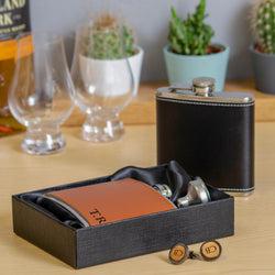 Personalised whisky wood cufflinks and leather hip flask set