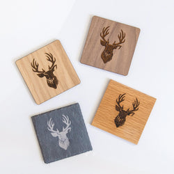 Stag head slate, oak or walnut coasters