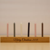 Oak Candle Holder With Personalised Engraving and Vintage Coloured Candles