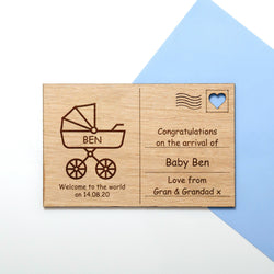 New baby wooden postcard