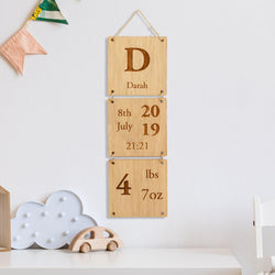 Personalised new baby birth details sign