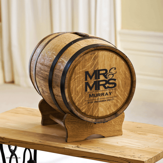 Mr Mrs Barrel Wedding Post Box For Gift Cards Stag Design