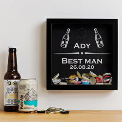 Best Man and Usher memory box frames for beer caps, wine corks or champagne corks