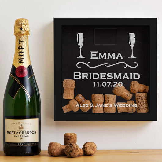 Bridesmaid, Maid of Honour memory box frames for champagne or wine corks or beer caps
