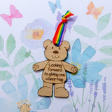 Teddy bear wooden postcard