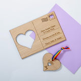 Big hug heart wooden postcard