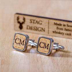 Square whisky wood, walnut or leather cufflinks