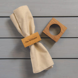 Premium solid oak personalised napkin rings