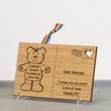 Children's birthday teddy bear wooden postcard