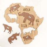 Personalised big five animal Africa map for children