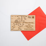 Christmas tree cut out wooden card