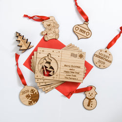 Christmas wooden card with cut out hanging decoration