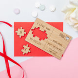 Jigsaw Valentine's Day wooden postcard