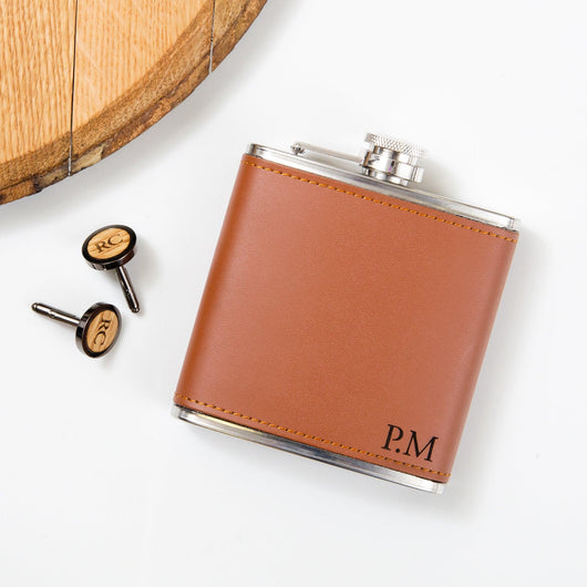 Personalised whisky wood, walnut or leather cufflinks and leather hip flask set