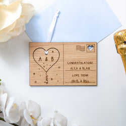 NEW! Engagement keepsake heart wooden postcard