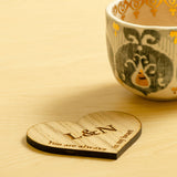 Wooden coasters, pair of jigsaw, love heart or mountain design