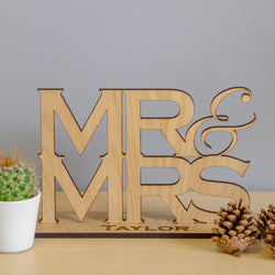 Mr & Mrs wooden sign (with surname option)