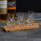 Triple or quadruple whisky wood flight for glasses