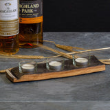 Triple whisky cask tea light holder