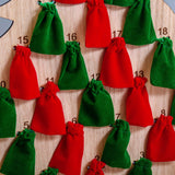 Oak advent calendar with velvet bags