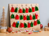 Oak Christmas advent calendar hanging board with velvet bags